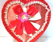 Extra Large Vintage Heart Shape Candy Box Valentine Love Red Satin Bow Ruffled Lace Silk Flower Chic Wedding Decor Girly Girl Gift Container