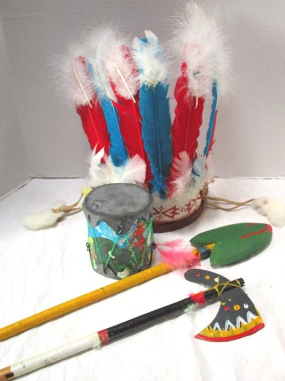 Vintage Collection Of Indian Souvenir Toys Headdress Hand