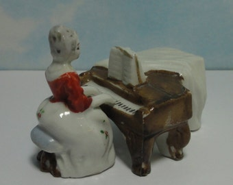 Occupied Japan Victorian Lady Playing Piano Figurine