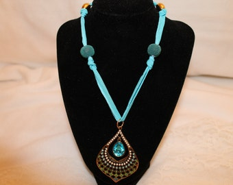 Turquoise Silk Ribbon Necklace