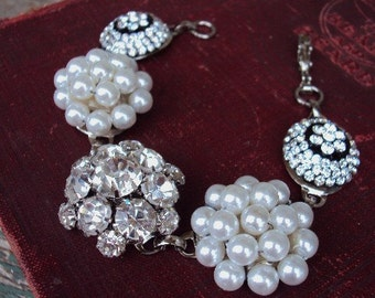 Vintage Style Rhinestone Link Bracelet Clear Glass Medallions Pearl Clusters Pronged Settings Antique Silver