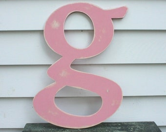 "18"" Lowercase Wooden Letter Rustic Shabby Chic Cottage Nursery Decor - Handpainted Distressed Wood Alphabet Wall Letter"