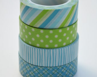 Washi Tape Set - 15mm - Bright Blue and Green - Four Rolls Washi Tape No. 544, 168, 952, 64