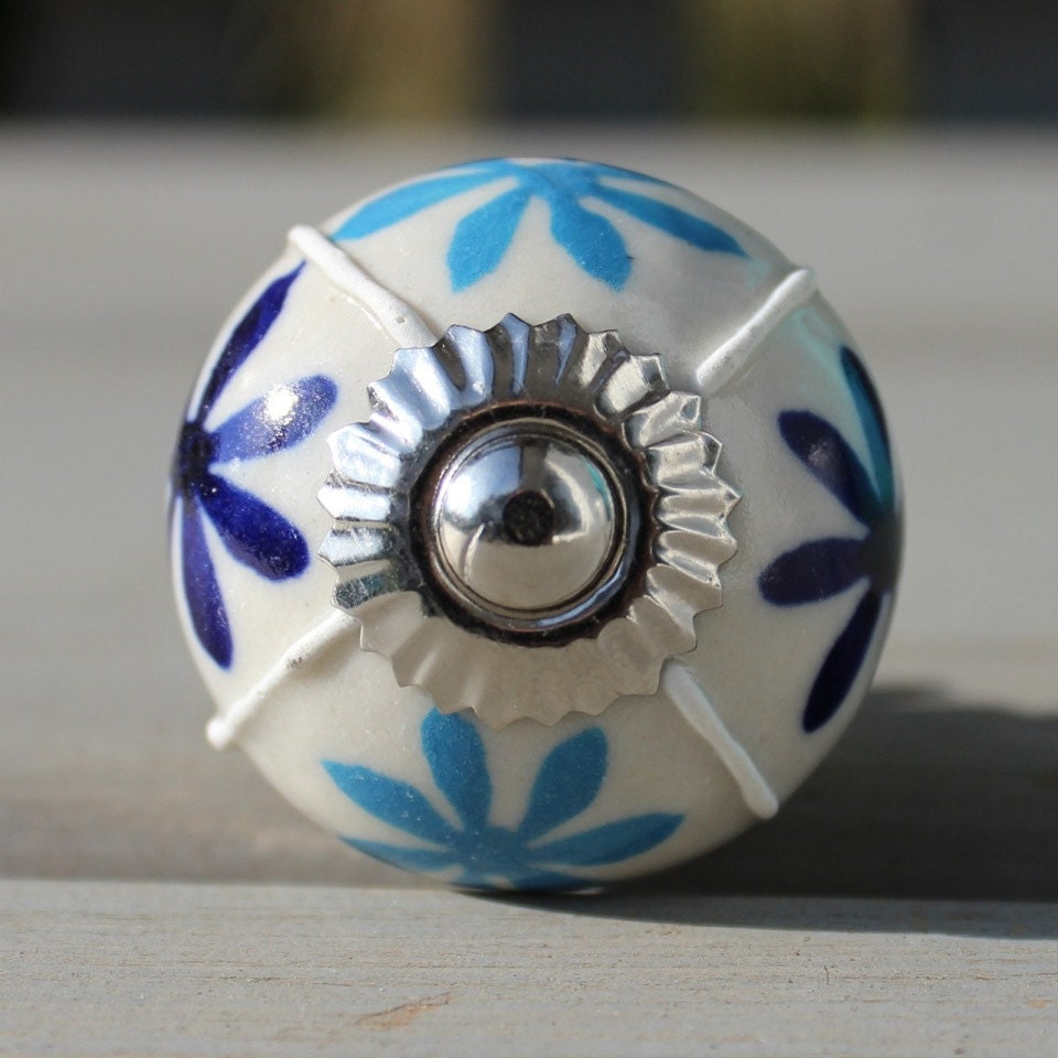Kitchen Cabinet Upgrade New Knobs Coming Later: Blue Flower Ceramic Drawer Knobs Cabinet Knobs CK10