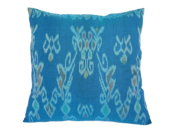 Indonesian Ikat, Pillow, Cushion, Hand Woven, Hand Dyed, 16 x 16, Turquoise