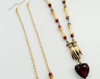 Goth red heart necklace, heart necklace, red heart,  long red earrings, Valentine's gift, girlfriend birthday gift, anniversary gift
