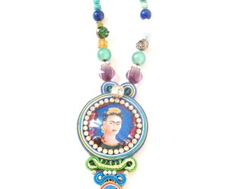 Frida kahlo necklace , beaded handmade necklace , colorful jewelry , sautoir Frida