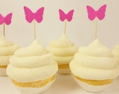 50 Hot Pink Butterfly Mini Toothpick Cupcake Toppers Birthday, Wedding, Baby Shower Party Supplies