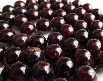 Dark Red Wine Garnet 8-9mm Dyed Round Beads 10pcs