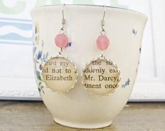 Pride and Prejudice Earrings Jane Austen Mr Darcy Elizabeth Bennet Text Literature Book Handmade For Her Dangle Drop Beaded Silver Bookworm