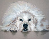 Custom Dog Portrait Painting Pet Pastel Art 11x14""