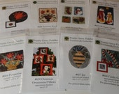 A Collection of 8 Holiday Punch Needle Punchneedle Patterns with Fabric Included on Most