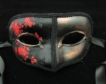 The Count Mask, Black and red roses embroidered silk covered eyemask with black trim