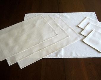 Tablecloth Place Mats Vintage Ecru Linen Solid Madeira Set Runner Napkin Napkins