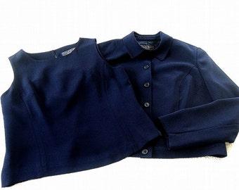 3 PIECE Suit Blazer Jacket Top & Pants Blue Micro Fiber A+ Lined 12P Vintage late eighties