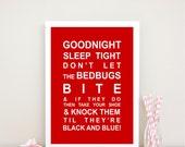 Goodnight sleep tight nursery rhyme print