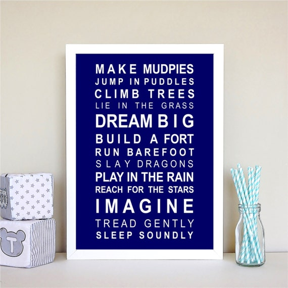 Subway Wall Art Print For boys: Dreams for your boy