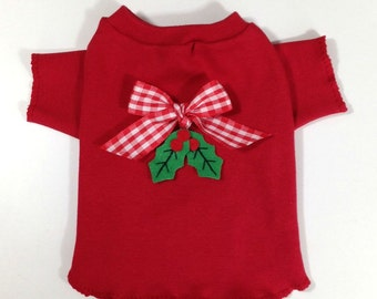 Happy Holly Days Christmas Dog TShirt Clothes Size XXXS through Medium by Doogie Couture