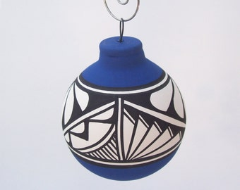Southwest Ornament Bulb Navy Blue