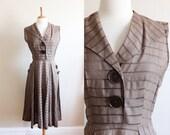 1950s Dress / Vintage Brown Woven Stripe Oversize Button Sundress