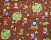 Cosmo Textiles Japanese Kawaii Fairytale Brown Humpty Dumpty Jack and Jill Cotton Fabric 1/2 Yard OOP Out of Print Hard To Find RARE yardage