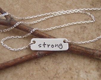 Strong Necklace - Dainty Bar Necklace - Custom Word Necklace - Encouragement Jewelry - Name - Initials - Photo NOT actual size
