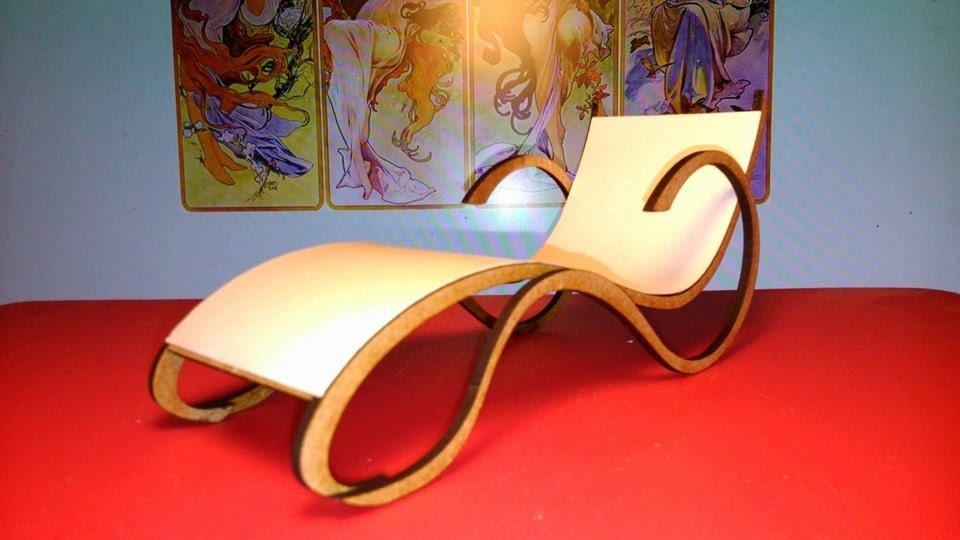 Art nouveau style white chaise longue 1 12 miniature for for Art nouveau chaise