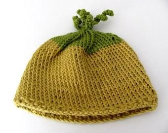 Hand knitted baby hat---Newborn--- Cotton---natural-- yellow green----boys and girls----Lemon Tree