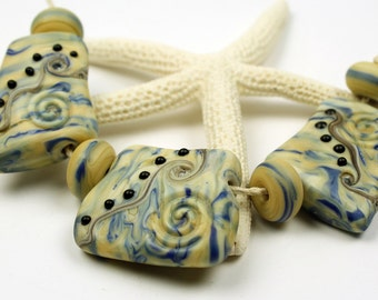Lampwork Glass Beads Set, SRA Matte Etched Rustic Cream Blue Pendant Organic 'Blueberries and Cream'