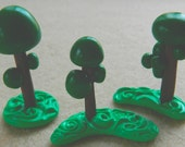 3 Small Topiary Trees OOAK Polymer Clay