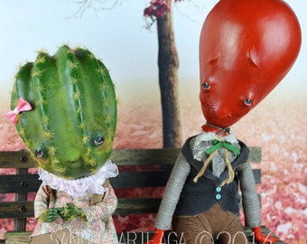 C'est la vie - complicated love story llustre print size A4( 8.3 in x 11.7 in )anthropomorphic art doll portrait air balloon boy cactus girl
