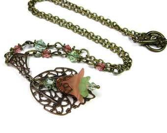 Vintaj Brass Necklace, Peach Green Floral Necklace, Gifts for Females Gardeners, Woodland Flower Jewelry, Pastel Peach Flower Necklace