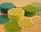 """Scalloped Tags..""""Uniquely Handmade Limited Edition"""" ... Merchandise Tags, Hang Tags, Set of 25, Multi Color Scalloped Tags Hand Stamped Tags"""