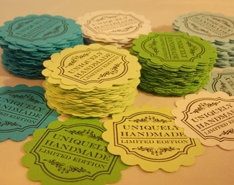 "Scalloped Tags..""Uniquely Handmade Limited Edition"" ... Merchandise Tags, Hang Tags, Set of 25, Multi Color Scalloped Tags Hand Stamped Tags"