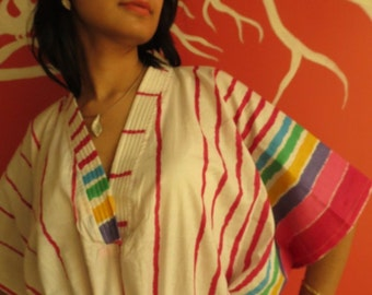 White Magenta Stripes short Kaftan Dress Best gift for her, dressing gown lounge wear, beach cover up, vintage fashion