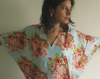 Drawstring Free Floral Kaftan Dress Summer Dress, Long Maxi, loungewear, beachwear, Maternity Dress, Holiday Vacation Wear