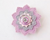Lavender and Gray Embroidered Brooch