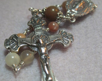 Handmade VALUABLE Sterling CATHOLIC Chaplet Traditional MOONSTONE Jasper Gemstone