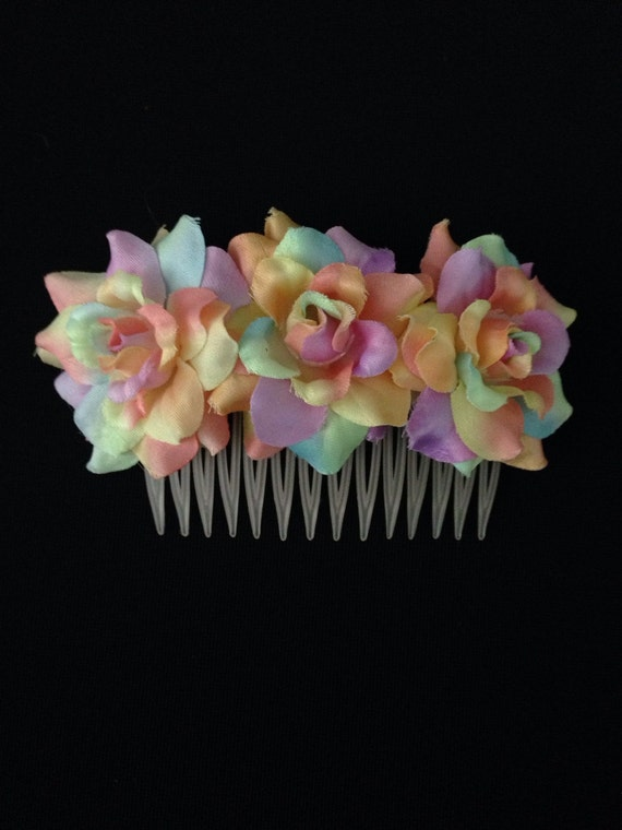 3 Light Pink, Lavender and Pale Yellow tie dyed Silk flowers attached to a beige comb. Can be for anything from wedding to everyday casual