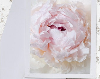 French Peony Photo Notecard - Flower Note Card, Greeting Card, Stationery, Blank Notecard