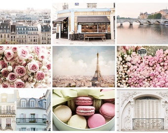 Paris Photo Postcards - Paris Photography, Eiffel Tower, Roses, Macarons, Flower Market, Wall Decor