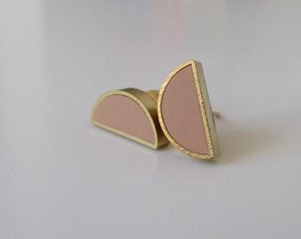 natural beige brass half moon stud earrings