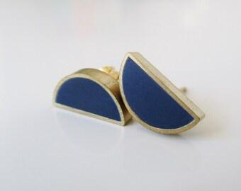 navy blue brass half moon stud earrings