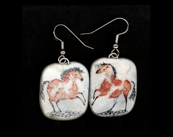 Horse Jewelry: Wild Paint Pony Earrings. Ink Drawing on Polymer Clay. Copper Red, Black and White. 3570