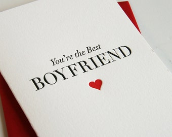Letterpress Valentine card for boyfriend - Best Boyfriend
