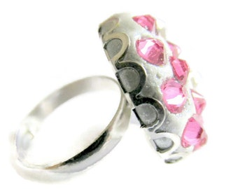 Adjustable pink swarovski elements crystal clay ring sparkly scalloped cocktail ring statement ring birthstone ring fwb