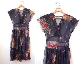 1940's Silk Chiffon Dress • Night Bloom Dress • Floral Silk Dress