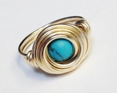 Turquoise Ring   Turquoise Jewelry  Turquoise Gemstone Wire Wrapped Ring 14K Gold Filled Gold Ring  December Birthstone