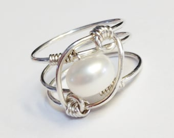 White Pearl Ring  Pearl Jewelry   Pearl Ring  Sterling Silver Ring   Sterling Rings for Women  June Birthstone
