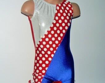 Red  Blue Nylon Spandex Biketard with Polka Dots Insert. Toddlers Biketard. Toddlers Gymnastics Leotard. Dancewear.  Size 2T - Girls 12